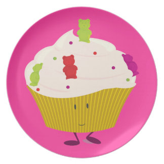 Smiling gummy bear cupcake party plates