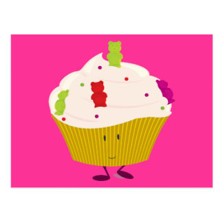 Smiling gummy bear cupcake post cards