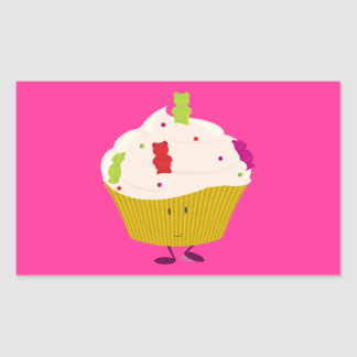 Smiling gummy bear cupcake stickers