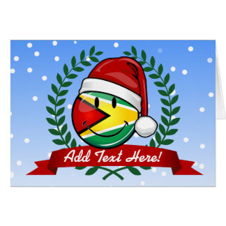 Smiling Guyana Flag Christmas Style Card