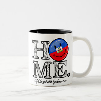 Smiling Haitian Flag Housewarming Two-Tone Coffee Mug