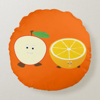 Smiling Half Apple and Orange | Throw Pillow