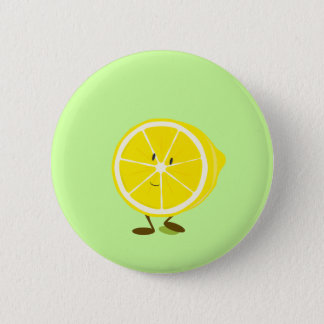 Smiling half lemon character 2 inch round button