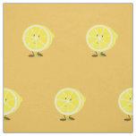 Smiling half lemon fabric