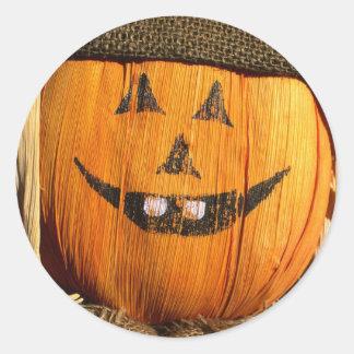 Smiling Halloween Pumpkin Scarecrow Round Sticker