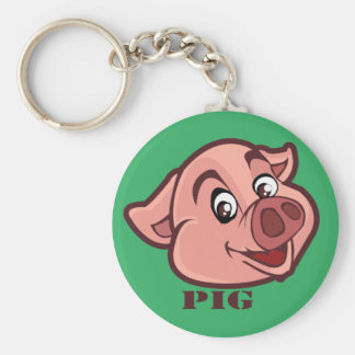 Smiling Happy Pig Face Basic Round Button Keychain