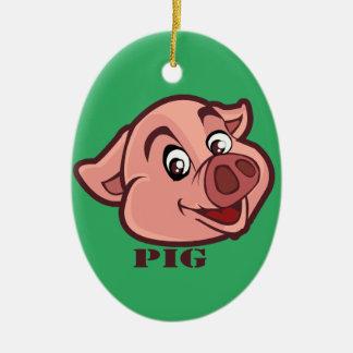 Smiling Happy Pig Face Ceramic Ornament
