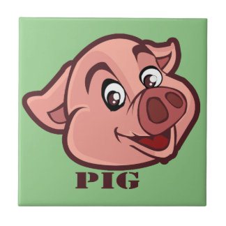 Smiling Happy Pig Face Ceramic Tiles