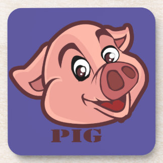 Smiling Happy Pig Face Drink Coasters