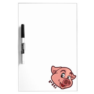 Smiling Happy Pig Face Dry Erase Board