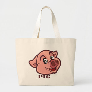 Smiling Happy Pig Face Large Tote Bag