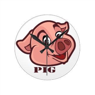 Smiling Happy Pig Face Round Clock