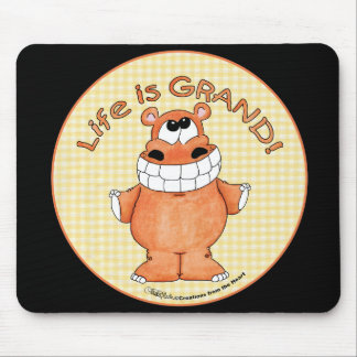 Smiling Hippo-Life is Grand Mouse Pad