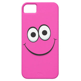 Smiling hot pink happy cartoon smiley face funny iPhone 5 case