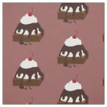 Smiling ice cream topped brownie fabric