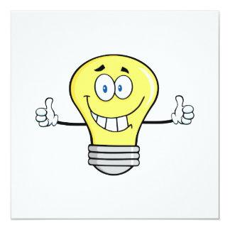 Smiling Incandescent Light Bulb 5.25x5.25 Square Paper Invitation Card