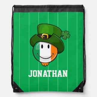 Smiling Irish Flag Wearing a Leprechaun Hat Drawstring Bag