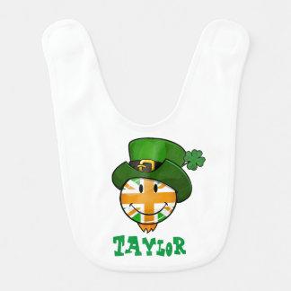 Smiling irish Union Jack Flag in a Leprechaun Hat Bib