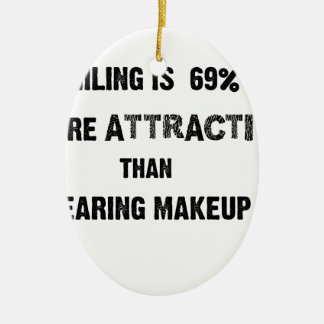 smiling is 69% more attractive than wearing makup ceramic oval ornament