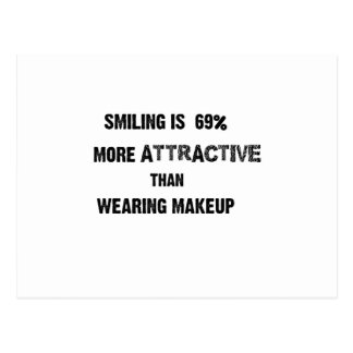 smiling is 69% more attractive than wearing makup postcard