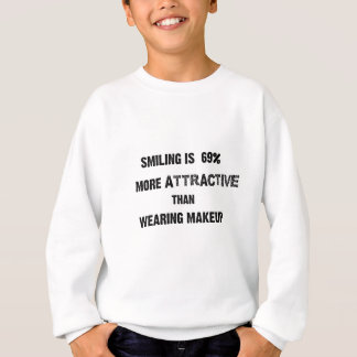 smiling is 69% more attractive than wearing makup sweatshirt