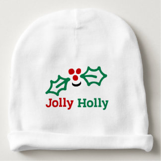 Smiling Jolly Holly Berries and Leaves Baby Beanie