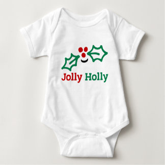 Smiling Jolly Holly Berries and Leaves Baby Bodysuit