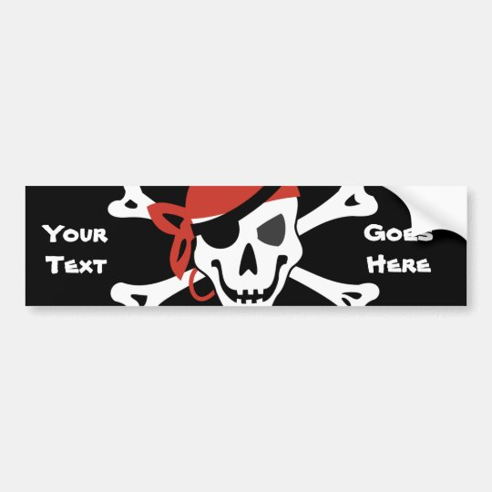 Smiling Jolly Roger with Your Custom Text Bumper Sticker