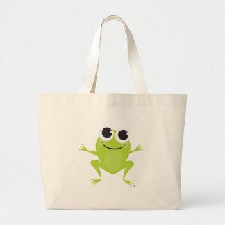 Smiling, Jumping, Green Frog Tote Bag