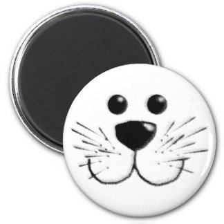 Smiling Kitty Cat Face 2 Inch Round Magnet
