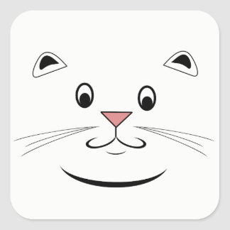 Smiling Kitty Cat Face Square Sticker