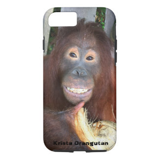 Smiling Krista Orangutan in Borneo with coconut iPhone 7 Case