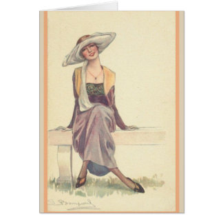 Smiling Lady on Park Bench, Card