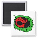 Smiling Ladybug on a Green Leaf