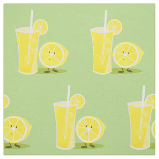 Smiling lemon and a glass of lemonade fabric