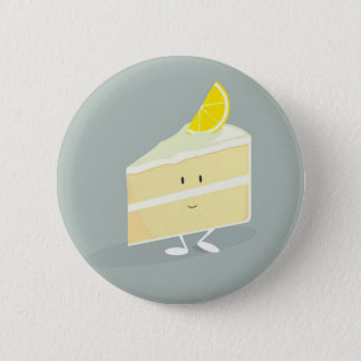 Smiling lemon cake slice 2 inch round button