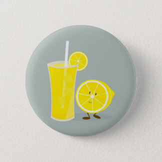 Smiling lemon with lemonade 2 inch round button