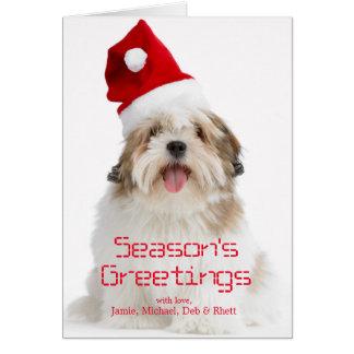 Smiling Lhasa Apso Dog Wearing Santa Hat Card