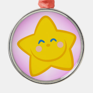 Smiling Little Star Silver-Colored Round Ornament