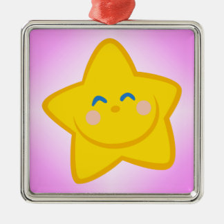 Smiling Little Star Silver-Colored Square Ornament