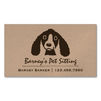 Smiling Long Ears Dog | Pet Sitter | Animal Care Magnetic Business Card