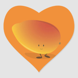 Smiling Mango Character Heart Sticker