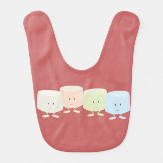 Smiling marshmallow characters bib