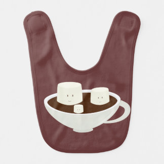 Smiling marshmallows in hot chocolate baby bibs
