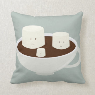 Smiling marshmallows in hot chocolate throw pillow