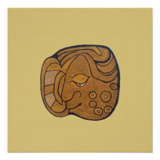 SMILING MAYAN MEDALLION- GOLD BACKGROUND POSTER