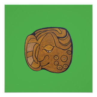 SMILING MAYAN MEDALLION- LIME GREEN BACKGROUND PERFECT POSTER