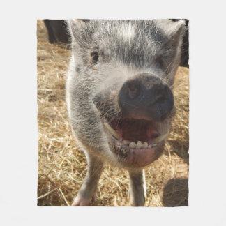 Smiling Mini Pig Fleece Blanket, Medium