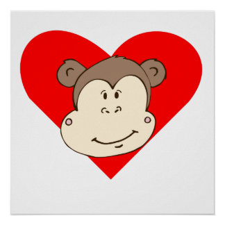 Smiling Monkey Face Heart Posters