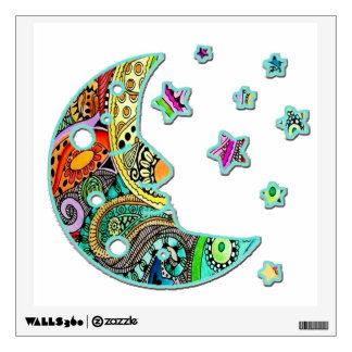 Smiling Moon and Stars Colorful Wall Decal